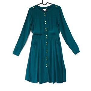 Boden Ashbourne Day Dress deep forest green crepe